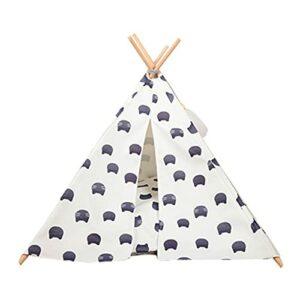 yaunli Tente de Compagnie Lit de Chien Teepee/Tente pour Chiens et Chats – Lit de Chien Confortable élégant avec Coussinet épais Tente de Chat et de Chien Lavable (Couleur : White, Size : 64×65cm)