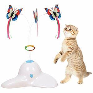 Zenes Jouet électrique rotatif avec papillon de rechange – pour chat