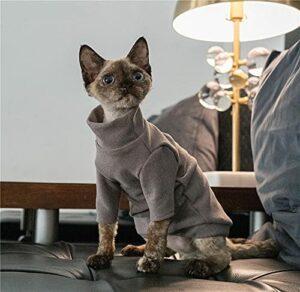 ZHIHAN Sphinx Chemise chaude pour chat résistante à la saleté et aux chutes Gris Taille L