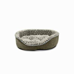 Alice's Garden Corbeille en Tissu Style Lin Grise pour Petit Chien et Chat. Doux. réversible et Confortable. Taille S