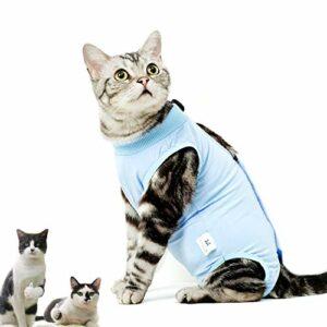 CandyCare Costume de récupération Chat Convient pour abdominaux Collerette des plaies ou des Maladies de la Peau Sevrage, après la Chirurgie Porter (Bleu, L