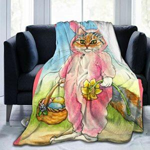 Chat dans un costume de lapin – Accessoires de Pâques – Couverture lestée en polaire Sherpa – Couverture d'extérieur pour lit de pique-nique gris – Grand adulte – 127 x 101 cm – Noir