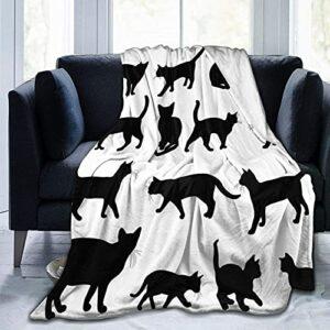 Couverture en polaire ultra douce pour adultes, silhouette de chat noir dans différentes positions pour animaux domestiques, chaton, queue et moustaches – Couverture douce et confortable pour canapé