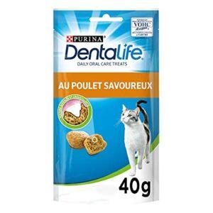 Dentalife Friandises Bucco-Dentaire Adulte au Poulet pour Chat, 40 g – Lot de 8