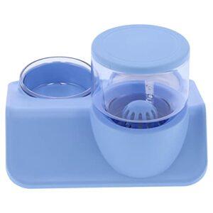 Distributeur d'eau et mangeoire Ensemble de bols pour distributeur d'eau 1,8 L Dispositif d'abreuvement et d'alimentation automatique Plusieurs bases antidérapantes(Rooftop drinking fountain blue)