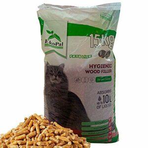 EkoPal Litière pour chat en granulés de bois hygiénique