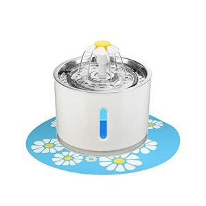 Fiorky Fontaine à eau pour chat en acier inoxydable – Fontaine à LED pour petits chiens – Distributeur d'eau ultra silencieux – 2,4 l – Avec fenêtre de niveau d'eau