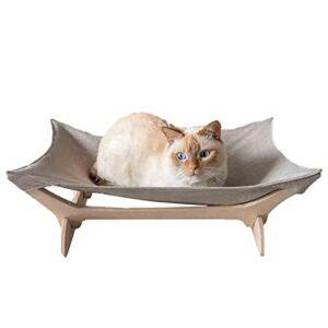 Hamac suspendu pour chat – En bois massif – Avec cadre en bois résistant