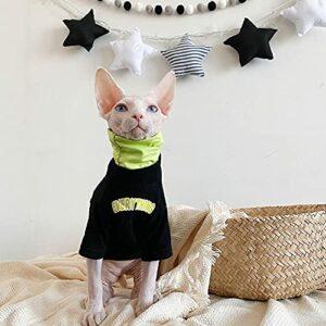 HCYD Couve-Chat Noir Noir Skyx Devin Vêtements de Chat Coton Spring Spring T-Shirt Automne-Noir_M