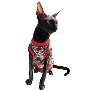 Kotomoda Tee-shirt chat rouge sculls pour spynx et chats nus (XS)