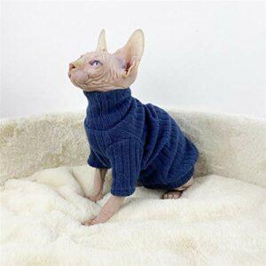 NELIT Sphynx Chat vêtements Hiver épais Chaud Pull à col Haut vêtements de Chat sans Poils-Bleu_L