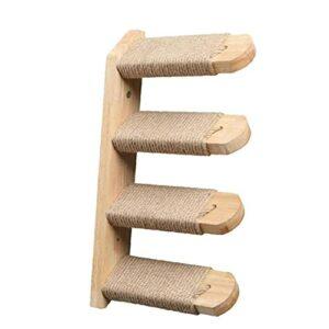 NIDONE Cat Wood Wall Suspendu à l'échelle Chat d'escalade d'escalade réversible Plate-Forme d'escaliers en Bois Mural avec 4 marches pour Chats de grattage au Repos Jaune