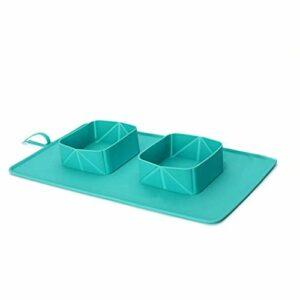 Ping – Gamelle pliable et antidérapante pour animal domestique – Anti-fuite – Tapis inférieur pour nourriture et eau – Vaisselle pour chat et chien