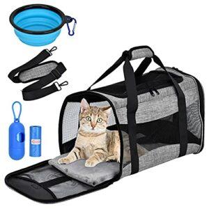 Queta Sac de transport pour chiens et chats, sac doux et respirant pour animaux domestiques, sac à bandoulière portable de transport confortable, sac + bol pliable pour voyage