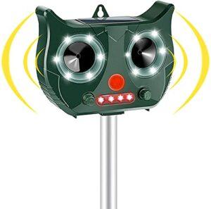 Vivibel Répulsif pour chats – Répulsif solaire pour animaux – USB – Étanche à ultrasons – 5 modes réglables – Pour éloigner les animaux – Pour chats, chats, oiseaux, chiens, escalade rouge