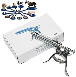 WXking Bétail continu 30ml Seringue injecteur de l'injecteur d'injecteur en Acier Inoxydable Pistolet d'injecteur réglable pour Animaux de volaille d'animaux Ferme agricole d'oiseaux