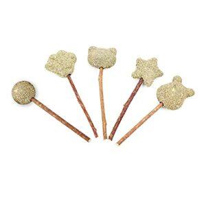 Yumech Lot de 5 bâtonnets d'herbe à chat pour animal domestique – Jouet à mâcher à l'herbe à chat bio – Bâton de nettoyage amusant – Jouet dentaire à mâcher – Soin buccal sain
