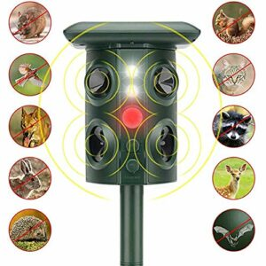 ZYYH Ultrasonic Cat Fox Repellent, Solar Powered USB Charging Cat Scarer, Activated Pet/Animal Repeller with 4 Loud Speakers and Flashing Light, Green
