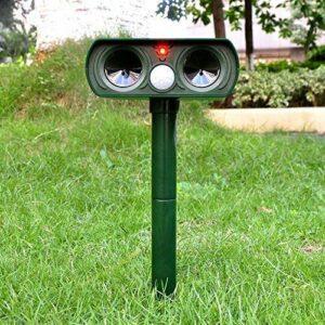 Anilley Repulsif Ultrason Chat Solaire,Répulsif Chat Exterieur avec Haut-parleurs et Lumière LED,Etanche Répulsive Chien, Anti Chats, Chiens, Renards,Oiseau Protecteur de Jardin
