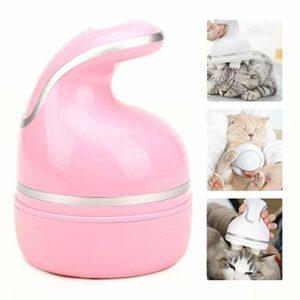 joyvio Masseur pour Animaux de Compagnie, Tête de Brosse en Silicone Souple Massage Doux USB Chargeur Masseur Automatique pour Chiens et Chats (Color : Pink)