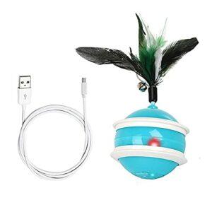 QiKun-Home Jouet interactif pour Chat Beedove Jouets pour Chat avec Son d'oiseau Lumière LED 360 degrés Boule de Chat Auto-rotative Charge USB