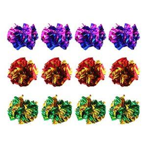 unknowns Lot de 12 balles en Mylar de 4,6 cm pour chat – Balles froissées – Couleurs assorties – Jouets interactifs pour chatons et chats
