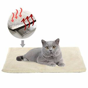 Couverture pour chat – Auto-chauffante – Lavable – En laine douce – Pour animal domestique – Blanc – 89 x 61 cm