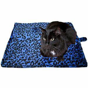 Downtown Pet Supply Chien Chat Thermique Réchauffement Tapis – Bleu, (Motif Léopard) 22″ L X 19″ W,