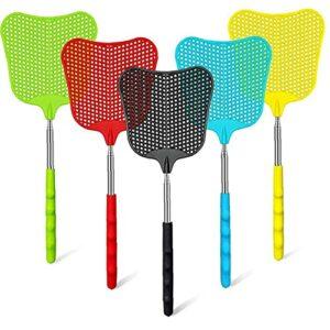 Fly Swat, Trong Fly Swats avec poignée télescopique, Heavy Duty Flyts Swattes pour insectes de bogues de moustiques extérieures intérieures, multi-couleurs