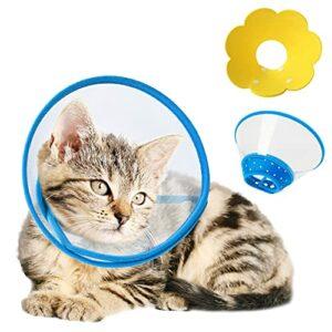 HXX Lot de 2 colliers en plastique pour chats, cônes de récupération pour animaux de compagnie et éponge, colliers de récupération pour chats petits chiens, boutons réglables