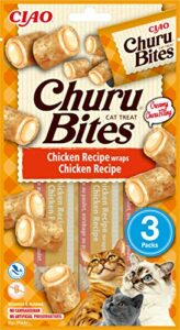 INABA Churu Bites – Cat Treats to Feed from The Hand – Crunchy Pockets with Creamy Filling… (Chicken, 3 Packs)