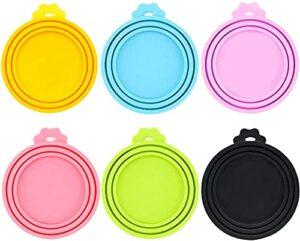 IVIA Lot de 2 couvercles universels en silicone sans BPA pour nourriture pour chien et chat Compatible avec la plupart des aliments en conserve de taille standard, Lot de 6 (multicolore)
