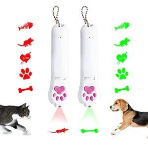 Jouet Interactif Chat 2 Pack Pointeur LED USB Rechargeable Jouets de Capture de Chat avec 5 Motifs et Taches d'urine à Carreaux Violets, Jouets de Poursuite pour Chats (Vert + Rouge)