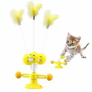 KEMOO Jouet pour chat – Jouet interactif pour chat – Avec plume – Rotatif – Avec ventouse et tampon adhésif