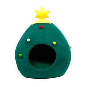 LOPAE Litière d'hiver chaude en forme d'arbre de Noël pour animal domestique