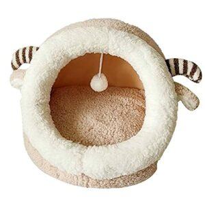 LOPAE Maison de couchage chaude pour chat en peluche douce et lavable pour l'automne et l'hiver