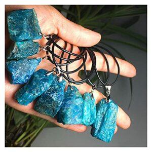 Pendentif Cristal Pendants géométriques géométriques de l'apatite Naturel Bleu foncé Bleu Pendants de guérison 1PC Pender avec Une Corde Noire Envoyer au Hasard (Metal Color : Only Rope)