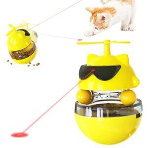 Petalum Jouet pour Chat Interactif Jouets Laser Automatique Electrique Stimulant Amusant à Rotation Gobelet Lumière Infrarouge Catty Toy Rechargeable (Jaune)