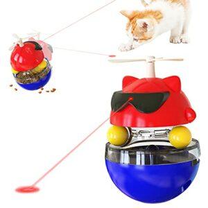 Petalum Jouet pour Chat Interactif Jouets Laser Automatique Electrique Stimulant Amusant à Rotation Gobelet Lumière Infrarouge Catty Toy Rechargeable (Rouge-Bleu)