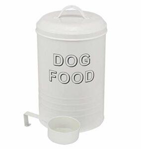 Pethiy Récipient cylindrique pour Nourriture pour Chiens, Pot de Rangement pour collations pour Chiens avec Couvercle et cuillère, Acier au Carbone rétro, Food Container Capacité 1,5 kg