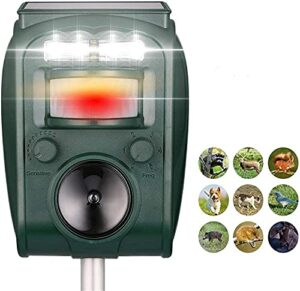 QingH yy Animal Repellent, Solar Animal Repeller, Rat, Équirrel, Derf, Raccon, Skunk, Lapin, Mole, Chien, Chat, Imperméable avec détecteur de Mouvement, USB Lumière Rechargeable, Clignotante QNQ0824