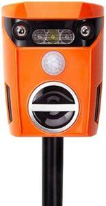 QingH yy Repeller de Chat Solaire extérieur avec Clignotant LED Lumière Smart Motion activée Tenir à l'écart Dog Fox Raccoon Deer Bird, Orange QNQ0821