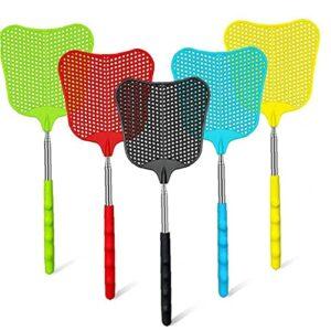 Swatter Fly Swatter, fly de plastique télescopique durable Set résistant robuste, FlySwatter rétractable avec poignée longue en acier inoxydable – 5 pack