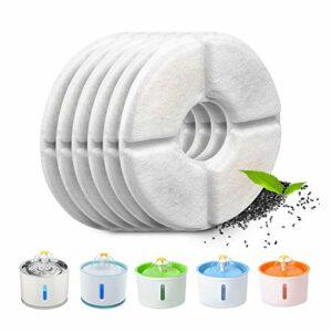 Tecatty Lot de 6 filtres automatiques pour fontaine à chat, avec résine et charbon actif, filtre à eau de rechange pour chats & chiens (rond)