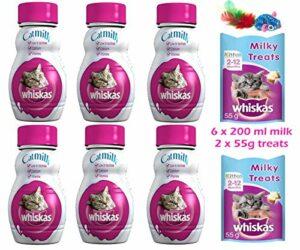 whiskas Lot de 6 friandises au lait pour chat de 200 ml, 2 paquets de 55 g et jouet inclus