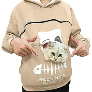 YTATY Sweat à Capuche avec Pochette, Hommes Sweat-Shirt Pullover Hoodie avec Animal Pochette, avec Grande Poche Kangourou pour Chien de Compagnie Porte-Chat (L,Amande)