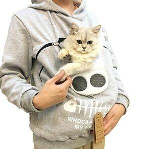 YTATY Sweat à Capuche avec Pochette, Hommes Sweat-Shirt Pullover Hoodie avec Animal Pochette, avec Grande Poche Kangourou pour Chien de Compagnie Porte-Chat (M,Gris)