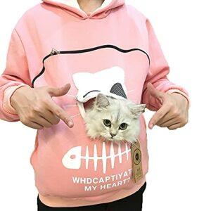 YTATY Sweat à Capuche avec Pochette, Hommes Sweat-Shirt Pullover Hoodie avec Animal Pochette, avec Grande Poche Kangourou pour Chien de Compagnie Porte-Chat (XL,Rose)
