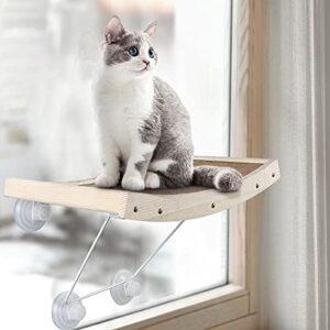 CatRomance Perchoir de fenêtre pour chat, hamac de fenêtre avec ventouses puissantes, perchoir robuste pour chat d'intérieur, poids jusqu'à 18 kg, économie d'espace, facile à assembler (Camel)