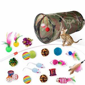 DONO Lot de 21 jouets interactifs en plumes pour chaton pour animaux domestiques Assortiment de trous, baguettes amusantes à mâcher, souris moelleuses, fournitures de jeu, vert militaire